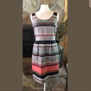 Banana Republic Silk Dress 8P Multicolored Stripe
